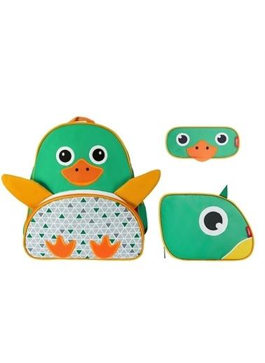 Zoozy Ördek Çanta Seti (Sırt Çanta-Beslenme Çantası-Kalemlik) Renkli